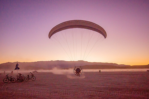 powered paragliding - burning man 2015, brad gunnuscio, dusk, flying, man, paramotor, paramotoring, powered paraglider, powered paragliding
