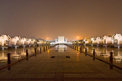 pratibimb sthal - elephant rows - ambedkar memorial, architecture, dr bhimrao ambedkar memorial park, elephant sculptures, elephant statues, elephants, india, lucknow, monument, night, pratibimb sthal, stone elephant, vanishing point