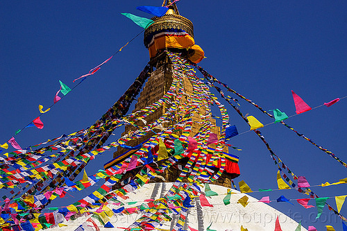 prayer flags on the bodnath stupa - kathmandu (nepal), bodnath stupa, boudhanath, buddhism, kathmandu, prayer flags, tibetan