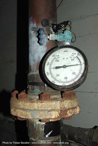 pressure gauge - pipe - abandoned hospital (presidio, san francisco) - phsh, abandoned building, abandoned hospital, decay, dial, graffiti, presidio hospital, presidio landmark apartments, pressure gauge, steam pipe, trespassing