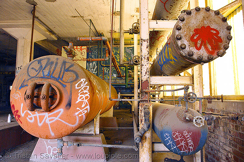 pressure tanks in abandoned factory (san francisco), abandoned factory, cylinders, derelict, graffiti, industrial, pipes, rusted, rusty, street art, tags, tanks, tie's warehouse, trespassing