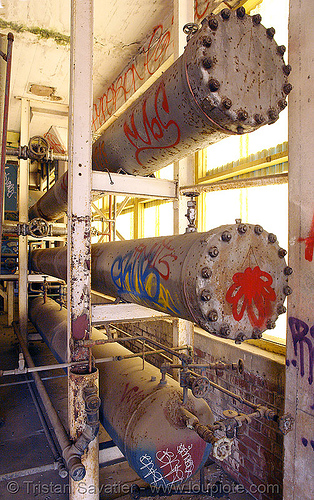 pressure tanks - tubes, abandoned factory, derelict, industrial, pipes, rusted, rusty, street art, tanks, tie's warehouse, trespassing, tubes