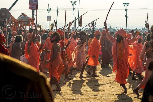 procession of hindu devotees near sangam - kumbh mela (india), babas, crowd, hindu, hinduism, kumbh maha snan, kumbha mela, maha kumbh mela, mauni amavasya, men, procession, sadhus, triveni sangam