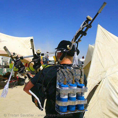 propane-powered bag-pipe - burning man 2007, bag pipe, burning man, propane