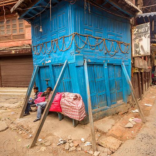 propped-up house - kathmandu (nepal), blue door, blue house, doors, kathmandu, street, wooden