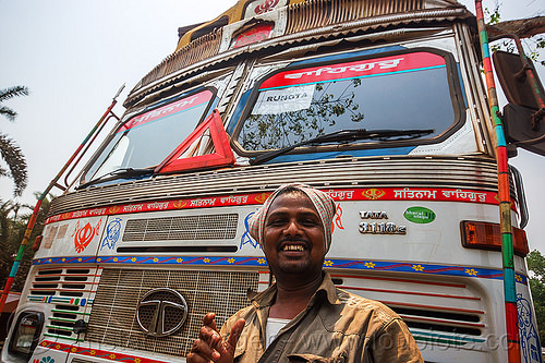 proud sikh truck driver with his truck (india), lorry, man, people, tata motors