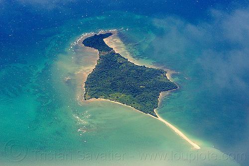 pulau kuraman island, aerial photo, coral reef, island, ocean, sandspit, sea