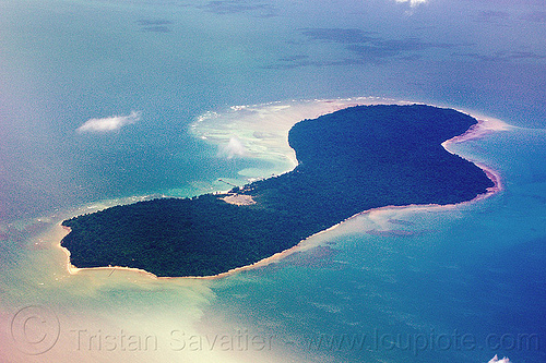 pulau tiga island, aerial photo, coral reef, island, ocean, sea