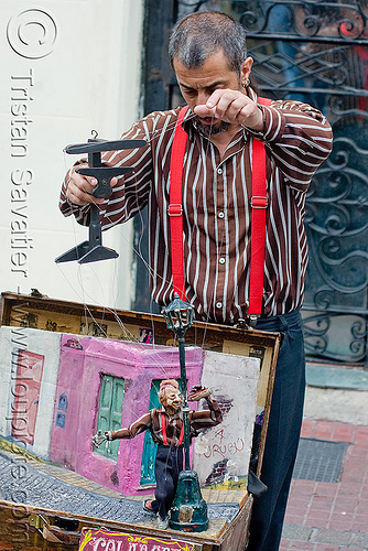 puppeteer with string puppet - marionette, argentina, buenos aires, drinking, drunk, man, marionette, puppeteer, san telmo, string puppet