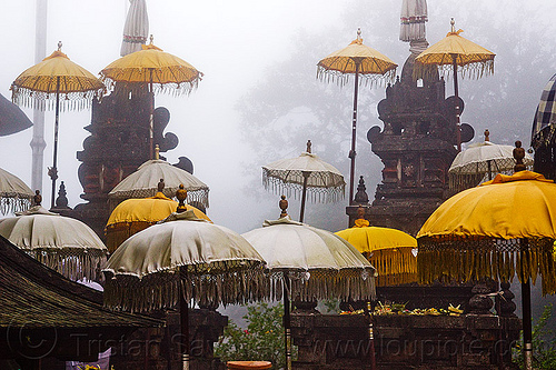 pura lempuyang, bali, fog, foggy, hindu shrine, hindu temple, hinduism, offerings, shrines, umbrellas, yellow