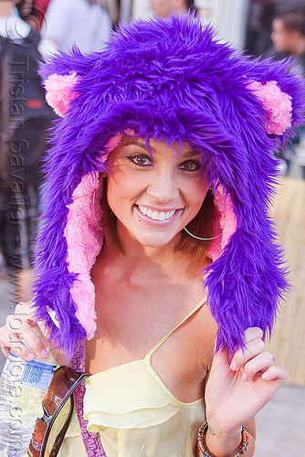 purple and pink fuzzy hat, fuzzy hat, how weird festival, pink, purple, rave fashion, raver, woman