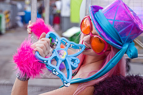 purple blue hat - butterfly tambourine, blue, butterfly tambourine, fashion, furry, fuzzy, plastic tambourine, purple hat, raver, tamra, woman