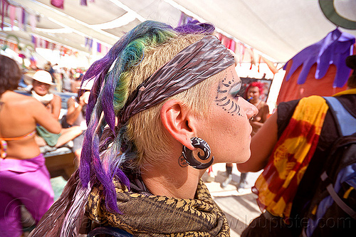 purple dreadlock mohawk, burning man, ear piercing, earring, mohawk hair, purple dreadlocks, woman