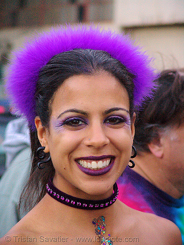 purple girl - rachel - burning man decompression 2007 (san francisco), burning man decompression, fuzzy, headband, headdress, purple, woman