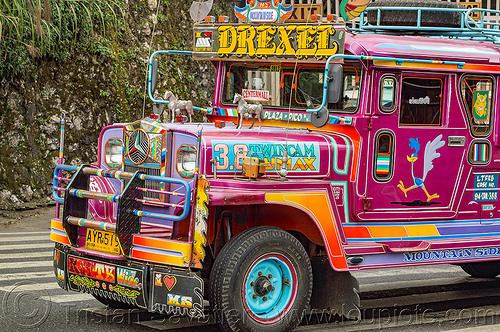purple jeepney (philippines), baguio, colorful, decorated, front grill, jeepney, painted, philippines, road, truck