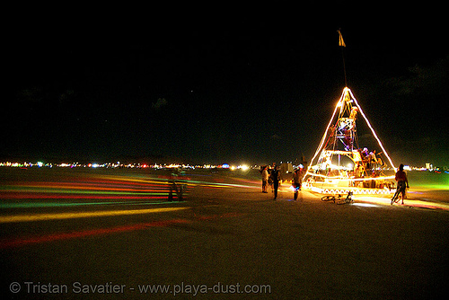 pyramix art  car from camp crazy horse - burning man 2007, camp crazy horse, night, pyramix, unidentified art car