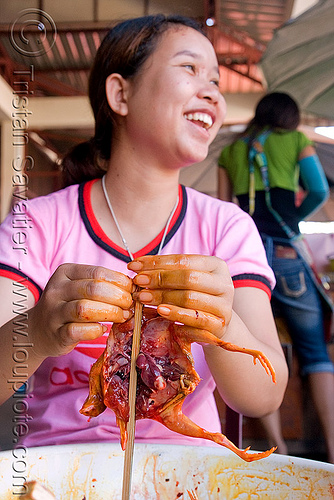 quail on a stick (laos), asian woman, bird, market, merchant, poultry, quail, vendor