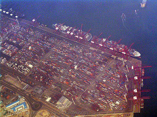 container terminal, aerial photo, cargo ships, chunzhou island, container ships, containers, freighters, harbor cranes, harbour crane, hk, hong kong, industrial, infrastructure, ocean, quanwan port, sea, shipping, stock photo
