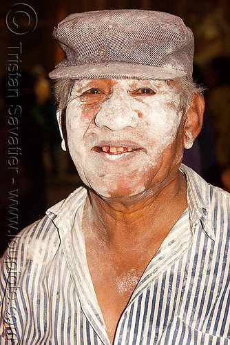 quechua man with talk powder on face - carnaval - carnival in jujuy capital (argentina), andean carnival, carnaval, indigenous, jujuy capital, man, noroeste argentino, quechua, san salvador de jujuy, talk powder