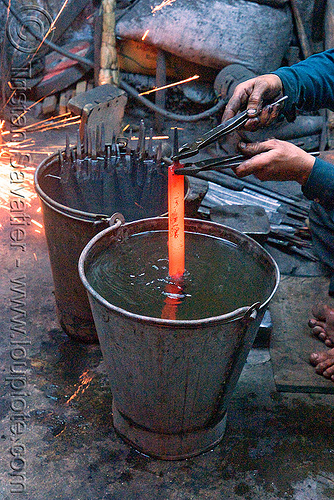 quench hardening, blacksmith, delhi, ironwork, metal bucket, metalwork, metalworking, quench hardening, red hot, water, wood files, workshop