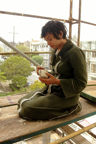 rachel shank on scaffolding, coffee, cup, green, morning, rachel shank, scaffolding