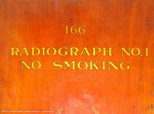 radiographe-no1 - door - abandoned hospital (presidio, san francisco) - phsh, abandoned building, abandoned hospital, door, no smoking, orange, presidio hospital, presidio landmark apartments, radiograph, trespassing