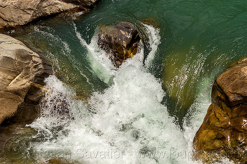 raging water of mountain stream (india), alaknanda river, alaknanda valley, flowing, india, raging water, rocks, whitewater