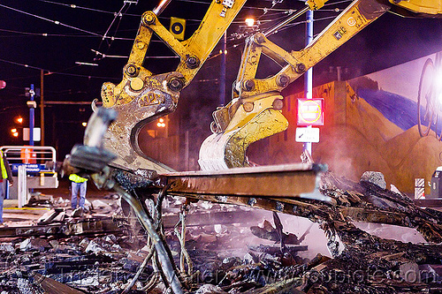 railroad demolition - removing old tracks, at work, bucket attachment, demolition, excavator bucket, excavators, light rail, muni, night, ntk, railroad construction, railroad tracks, railway tracks, san francisco municipal railway, track maintenance, track work, working