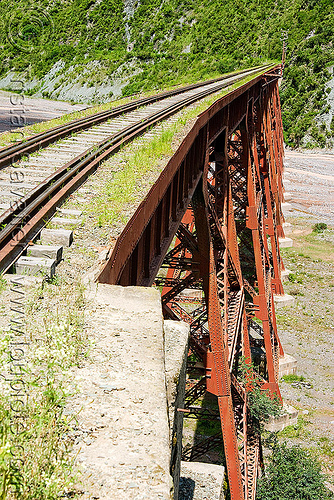 railroad guard rails on viaduct, guard rails, metric gauge, narrow gauge, noroeste argentino, rail bridge, railroad bridge, railroad tracks, railroad viaduct, railway tracks, rio toro, river, safety rails, single track, steel, tren a las nubes, truss, viaducto del toro