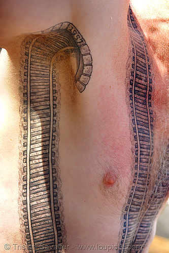 railroad tattoo - armpit tunnel, chest tattoo, darryl, freight hopping, full body tattoos, rail tracks, railroad switch, railroad tattoo, railroad tracks, rails, railway tracks, skin, tattooed, torso, train tracks, train tunnel