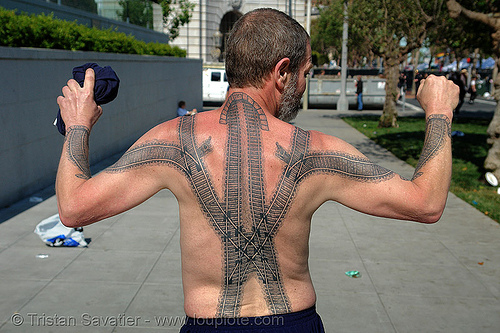 railroad tattoo - backpiece, arms, back tattoo, backpiece, darryl, freight hopping, full body tattoos, rail tracks, railroad switch, railroad tattoo, railroad tracks, rails, railway tracks, skin, tattooed, train tracks, train tunnel