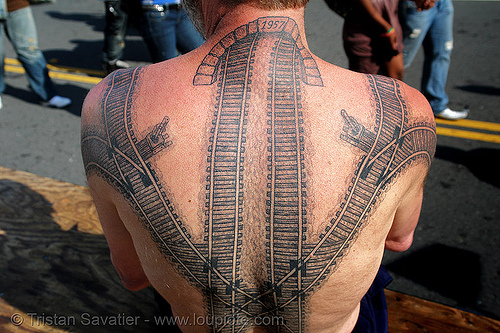 railroad tattoo - backpiece - neck tunnel, back tattoo, backpiece, darryl, freight hopping, full body tattoos, rail tracks, railroad switch, railroad tattoo, railroad tracks, rails, railway tracks, skin, tattooed, train tracks, train tunnel