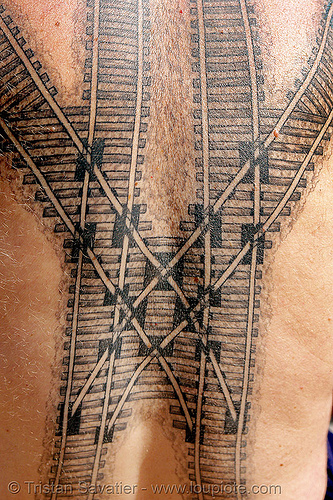 railroad tattoo - train tracks switches, backpiece, coeur de croisement, darryl, freight hopping, full body tattoos, rail frog, rail tracks, railroad switch, railroad tattoo, railroad tracks, rails, railway frog, railway tracks, skin, tattooed, train tracks, tunnel