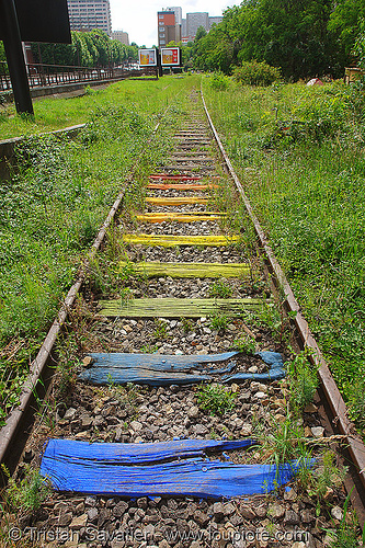 railroad ties - petite ceinture - abandoned railway (paris, france), cross ties, graffiti, paint, painted, paris, railroad ties, railroad tracks, railway sleepers, railway tracks, rainbow colors, street art, trespassing