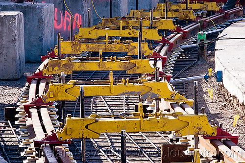railroad track construction, alignment tools, duboce, light rail, muni, ntk, rail jacks, railroad construction, railroad tracks, railway tracks, san francisco municipal railway, track jacks, track maintenance, track work, yellow