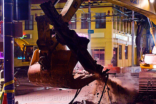 railroad track demolition, at work, bucket attachment, caterpillar, demolition, excavator bucket, heavy equipment, light rail, machinery, muni, night, ntk, railroad construction, railroad tracks, rails, railway tracks, san francisco municipal railway, track maintenance, track work, working