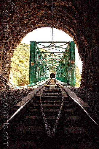 railroad tunnel and bridge, desfiladero de los gaitanes, el caminito del rey, el camino del rey, el chorro, rail bridge, railroad bridge, railway, safety rails, trespassing, truss bridge, tunnel, urbex