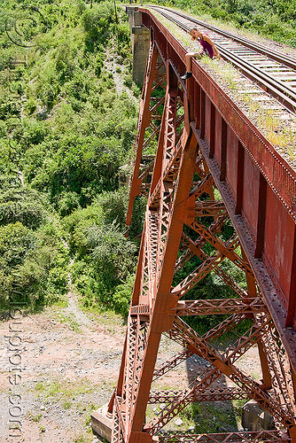 railroad viaduct (argentina), argentina, guard rails, maïlys, metric gauge, narrow gauge, noroeste argentino, rail bridge, railroad bridge, railroad tracks, railroad viaduct, railway tracks, rio toro, river, single track, steel, tren a las nubes, truss, viaducto del toro, woman