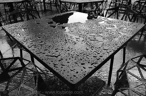 rain on black metal table, drops, tables, water, wet