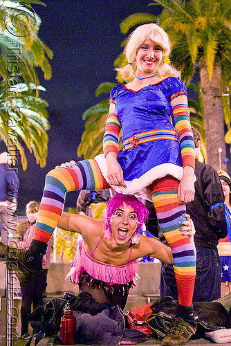 rainbow brite costume, brihannala, costume, embarcadero, halloween, journey to the end of the night, justin herman plaza, purple hair, rainbow brites, rainbow colors, rainbow stockings, rainbow tights, sara, women