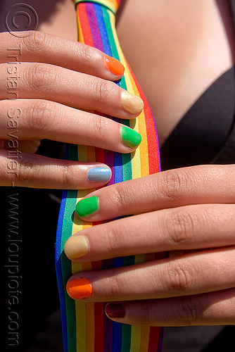 rainbow fingernails, dolores park, finger nails, fingers, gay pride festival, hands, rainbow colors, rainbow nail polish, rainbow nails, rainbow necktie, woman