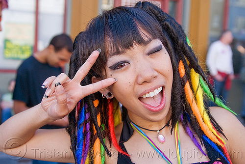 rainbow colors dreadfalls, gay pride festival, jessikr, peace sign, rainbow dreadfalls, v sign, woman