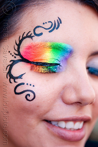 rainbow eye makeup, eye makup, face painting, facepaint, gay pride festival, rainbow colors, rainbow makeup, woman
