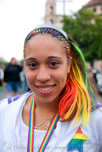 rainbow hair girl, gay pride festival, gay pride2008, rainbow colors, rainbow hair, woman