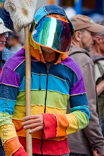 rainbow hooded sweatshirt - mirror visor (san francisco), festival, helmet, hoody, how weird festival, people, rainbow colors