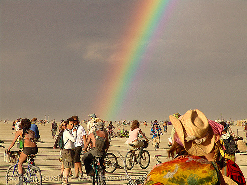 rainbow over the playa - burning man 2007, people
