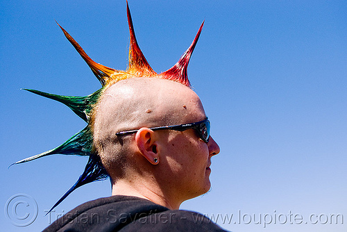 rainbow spiky mohawk hair, dolores park, gay pride festival, mohawk hair, rainbow colors, rainbow hair, rainbow spikes, spiky, woman