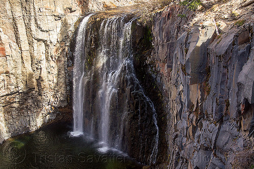 rainbow waterfall during the california drought - devil's postpile, california, eastern sierra, falls, river, waterfall