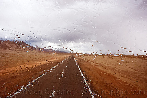 rainy weather on desert road, altiplano, cloud, cloudy, desert, noroeste argentino, pampa, perspective, rain drops, rainy, storm, stormy, straight road, vanishing point, weather
