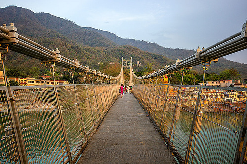 ram jhula suspension bridge over ganges river in rishikesh (india), cables, footbridge, ganga river, ganges river, hills, infrastructure, ram jhula, rishikesh, steel, suspension bridge, vanishing point, water